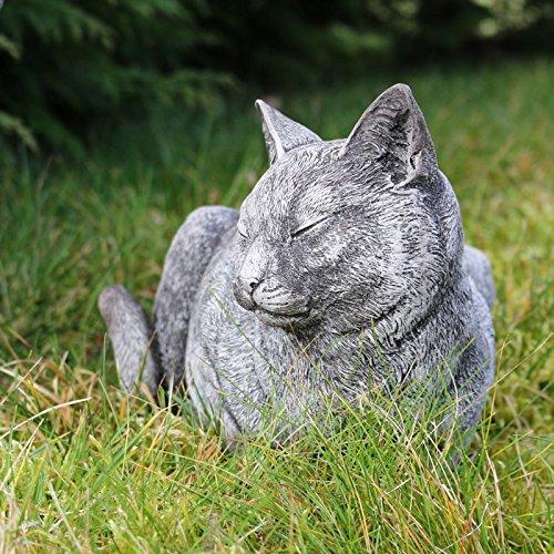 Kretakotta ruhende Katze Antiksteinguss, L. ca. 33 cm