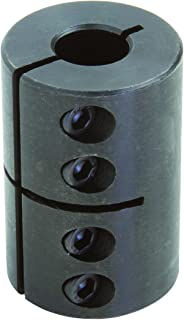 Climax Part CC-050-037 Mild Steel, Black Oxide Plating Clamping Coupling, 1/2 inch X 3/8 inch bore, 1 1/4 inch OD, 1 7/8 inch Length, 8-32 x 1/2 Set Screw