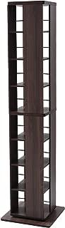 山善 回転本棚 幅45×奥行45×高さ182.5cm 8段 壁付け・角置き可 コンパクト 大容量 組立品 ウォルナット DSRR-8(WL)
