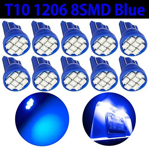 TABEN T10 W5W 194 Ampoules LED 8-SMD 1206 Puces LED 501 175 168 2825 Voiture Intérieur Dôme Numéro Plaque Lumière LED Remplacement Ampoules Bleu DC 12V (Pack de 10)