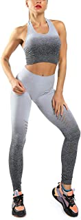 Seamless 2 Piece Sets Legging & Padded Racerback Sports Bra-High Impact Support for Yoga Gym Workout Fitness