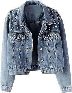 LILICHIC Thin Thicken Denim Jacket Warm Fleece Women Boyfriend Motorcycle Pearl Beading Loose Jeans Outwear, Plus Size