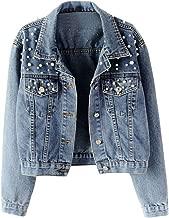 Kulywon Women's Blue Long Sleeve Denim Jacket Pocket Beading Casual Short Outwear Coat 2019