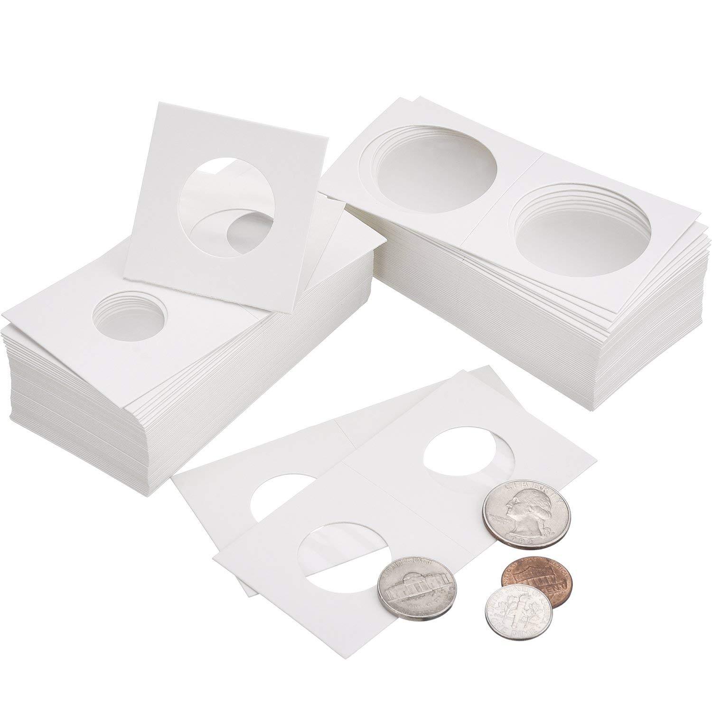 DILISEN 300 Piezas de Soporte de Moneda de Cartón Surtido de Flip Mega, 2 por 2 Pulgadas Funda de Moneda de Cartulina de Flip para Materiales de Colección de Monedas (6 Tama): Amazon.es: Hogar