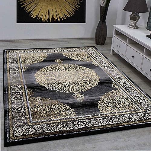 VIMODA Designer Teppich Orientalisch Grau Gold Elegant Orientalisch Glanz, Maße:200x290 cm