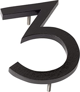 """Montague Metal Products MHN-04-F-BK1-3 Solid Aluminum Modern Floating Address House Numbers, 4"""", Powder Coated Black"""