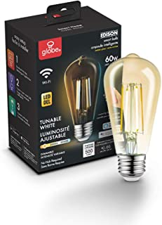 Globe Electric Globe Smart Collection Wi-Fi 5.5W Straight Filament Tunable LED Light Bulb, No Hub Required, Voice Activate...