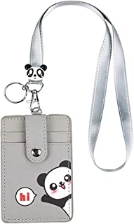 Cute Neck Pouch, Student ID Credit Card Case Holder Cartoon Shield Panda/Cat