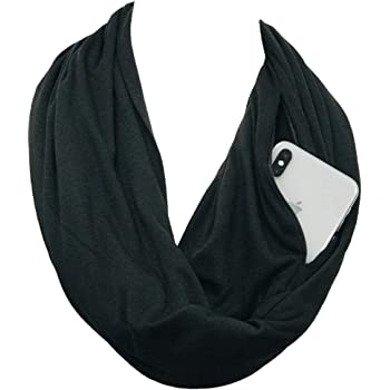 Pop Fashion Scarves for Women, Girls, Ladies, Infinity Scarf with Zipper Pocket Pattern