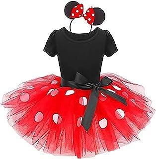 Baby Toddler Girls Princess Minnie Polka Dots Birthday Tutu Dress Up Costume Leotard Ballet Gymnastic Skirt +Mouse Ear Clo...