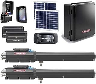 LiftMaster LA500PKGU / LA500PKGUL Dual Gate Opener 2019 UL325 Compliant with Two 811LM Remotes, 828LM MyQ Gateway, 220W Solar Kit, Safety Photo-Eye & Free A Heavy Duty FAS Tape Measure