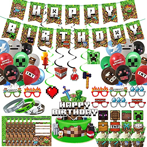 Pixel Style Gamer Birthday Party Supplies for Game Fans, 106 Pcs Miner...