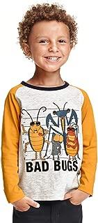 HUAER& Little Boys Cotton Long Sleeve T-Shirt Toddler Boy Cartoon Dinosaur Print Tees