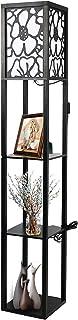 Fullwatt Lampadaire avec étagère en bois Éclairage intérieur Lampe sur pied en bois avec étagères pour salon, chambre à co...