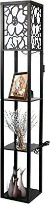 Fullwatt Lampadaire avec étagère en bois Éclairage intérieur Lampe sur pied en bois avec étagères pour salon, chambre à coucher et bureau (pas d'ampoule incluse) (Noir)