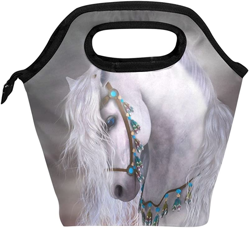 Lunch Bag Tote Bag White Horse Travel Picnic Organizer Lunch Holder Handbags Lunch Bag Box