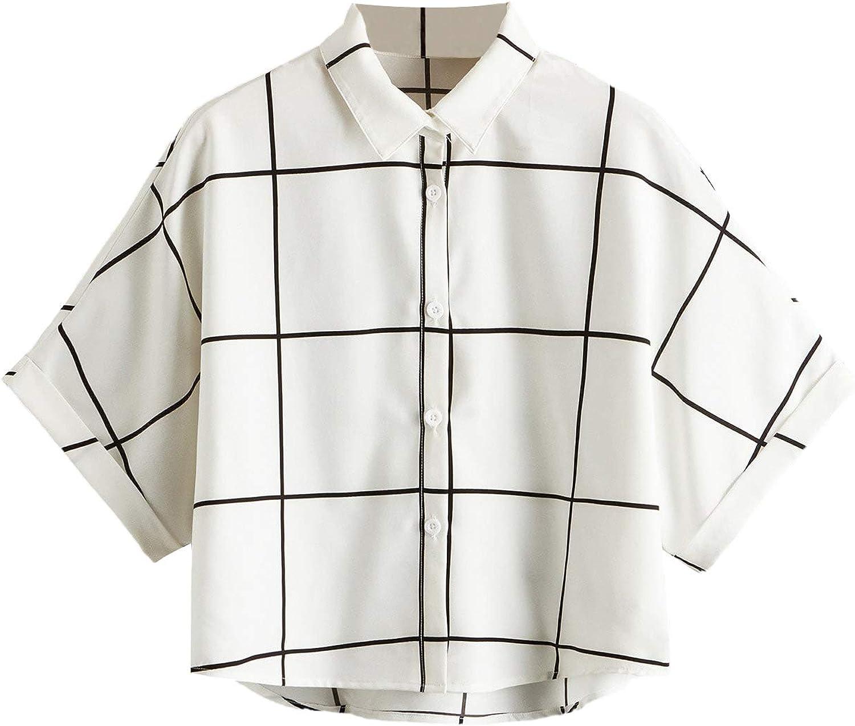 SheIn Women's Plaid Cuffed Batwing Half Sleeve Tops Button Down Blouse Shirts