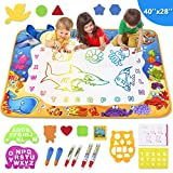 Toyk Aqua Magic Mat - Kids Painting Writing Doodle Board Toy - Color Doodle Drawing Mat Bring Pens Educational Toys for Age 3 4 5 6 7 8 9 10 11 12 Year Old Girls Boys Age Toddler Gift