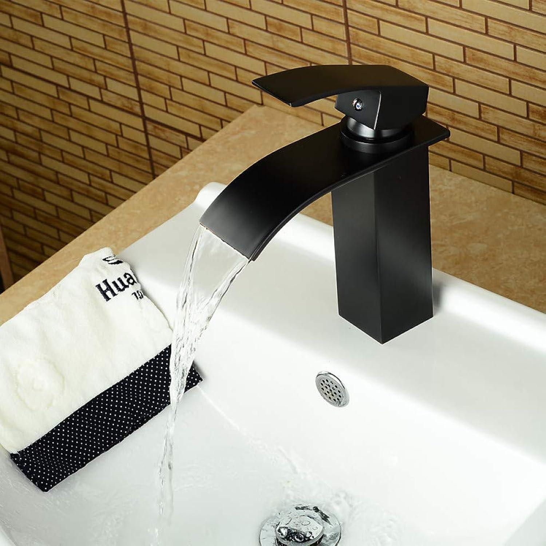 XHCP Waschtischmischer Moderner Stil l eingerieben Bronze Einhand Einlochmontage Warmes und kaltes Wasser Waschbecken Wasserhahn - Schwarz