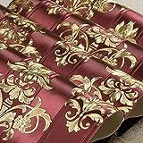 Damasco Damasco de Oro Papeles Pintados con Textura de Vinilo Europeo Papel de la Sala de Estar Dormitorio Papel Pintado a Rayas Floral Rollo de Papel 10Mx53Cm Z05001 Rojo