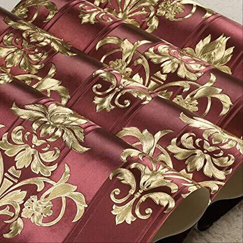 Damasco Oro Damascato sfondi Europeo Vinile Strutturato Carta da Parati Soggiorno Camera da Letto Floreale a Righe Carta da Parati Rotolo 10 mx53 cm z05001 Rosso