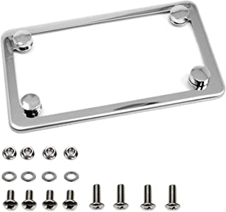 LFPartS Motorcycle Slim Style Polished Stainless Steel License Plate Frame