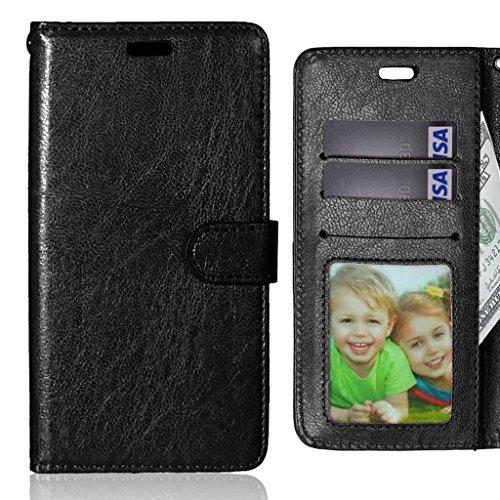 LEMORRY Handyhülle für Lenovo ZUK Z2 Pro Hülle Tasche Geprägter Ledertasche Beutel Schutz Magnetisch Schließung SchutzHülle Weich Silikon Cover Schale für Lenovo ZUK Z2 Pro, Bilderrahmen Schwarz
