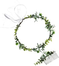 DDazzling Green Leaf Crown Boho Leaf Crown Eucalyptus Halo Wedding Woodland Crown Photo Prop