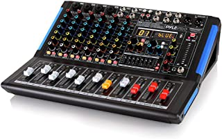 8-Channel Bluetooth Studio Audio Mixer - DJ Sound Controller Interface w/ USB Drive for PC Recording Input, XLR Microphone Jack, 48V Power, RCA Input/Output for Professional and Beginners - PMXU88BT