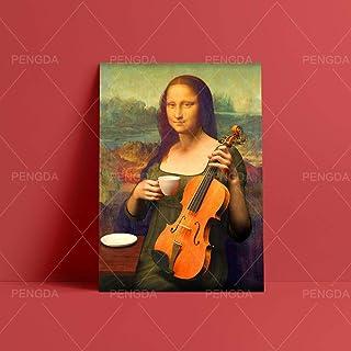 DSGTR Lienzo de Arte Abstracto nórdico Brillante/platillo de Taza de violín de Mona Lisa té Oficina en casa/póster de Arte impresión Imagen de Pared para Sala de Estar sin Marco