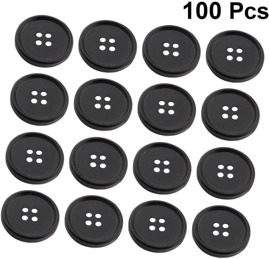 Exceart 100 Pcs Buttons Round Resin Button 4 Hole Black Sewing Flatback Buttons for DIY Sewing Button Replacement Diameter 15MM
