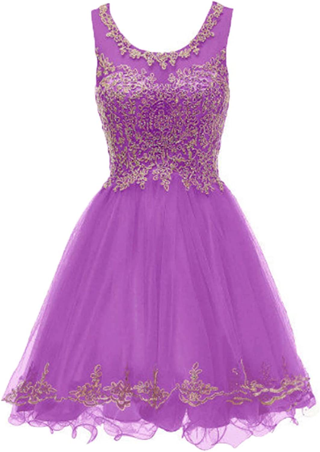 Huifany Short gold Lace Homecoming Dresses Beads Cocktail Prom Party Gowns