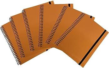 Bundle Set of 6 Hardback Hardcover Spiral Wire Bound Notebooks, 5 X 7, 80 Sheets (160 Pages), College Ruled, Elastic Closure (Orange)