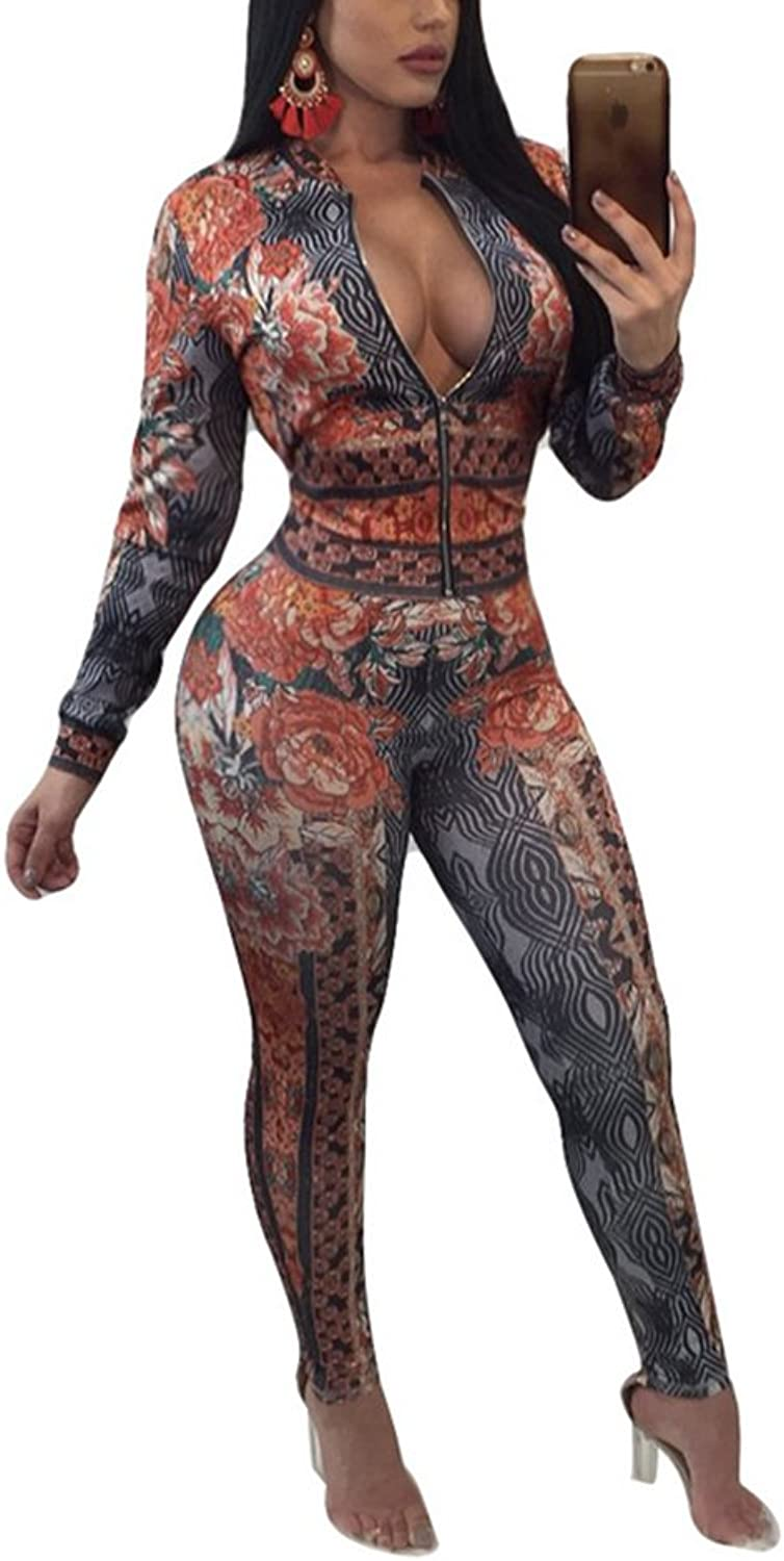 MS Mouse Women's Sexy Floral Print Two Piece Outfits Zipper Jacket and Skinny Pants Sweatsuits Set Tracksuits