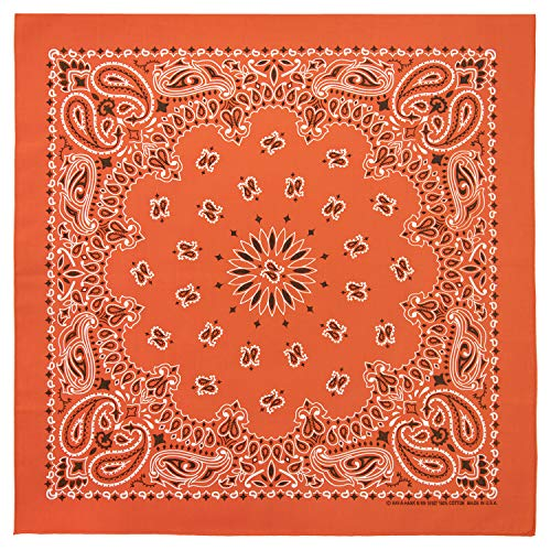 100% Cotton Western Paisley Bandanas (22 inch x 22 inch) Made in USA - Orange Single Piece 22x22 - Use For Handkerchief, Headband, Cowboy Party, Wristband, Head Scarf - Double Sided Print