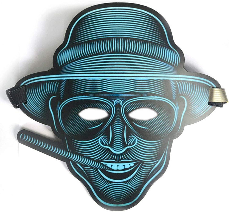 2-Teiliges Set 25Cm × 28Cm, LED-Lichtsteuerung, Leuchtmaske, Halloween-Maske, Glasierte Oberflche, Einstellbare Sprachsteuerung (Wechsel Mit Musikrhythmus),D