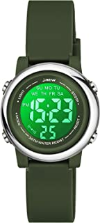 Venhoo Kids Watches 7 Colors Lights Outdoor Sports Waterproof Silicone Children Digital Toddler Wrist Watch for Little Girls Boys Child with Luminous Alarm Stopwatch-Army Green