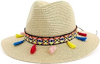 Happy-L Hat, Summer Women Men Straw Hat Boater Hats Unisex Panama Hat Jazz Cap Colorful Tassel Ribbon Wide Brim Woven Sun Beach Cap Leisure Fashion Cap. (Color : Beige, Size : 56-58CM)