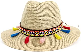 Hats and Caps Straw Hat Boater Summer Hats for Women Men Panama Hat Jazz Cap Red Band Wide Brim Woven Sun Beach Cap Fedoras (Color : Beige, Size : 56-58CM)