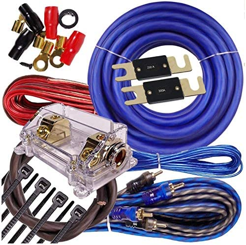 Complete 5000 Watts Gravity 0 Gauge Amplifier Installation Wiring Kit Amp PK1 0 Ga Blue 250A product image