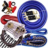 Complete 5000 Watts Gravity 0 Gauge Amplifier Installation Wiring Kit Amp PK1 0 Ga Blue - 250A + 300A Fuse Included - Perfect for Car/Truck/Motorcycle/RV/ATV