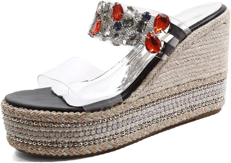 Bonrise Women's Clear Crystal Strappy Wedges Platform Slides Sandals Open Toe Slip on Cork Roman High Heels Sandals shoes