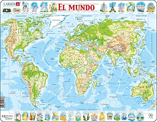 Larsen K4 El Mapa físico del Mundo, edición en Español, Puzzle de Marco con 80 Piezas
