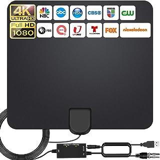 2021 Más Nuevo Antena Interior TV,240KM Alcance con Amplificador de Señal Antena de TV Digital HD para Interiores,Gratuita...