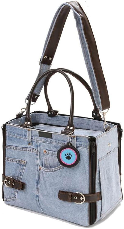 Daeou Pet Backpack Cowboy Single Shoulder Portable Dog Bag cat cage, 41  25  25cm