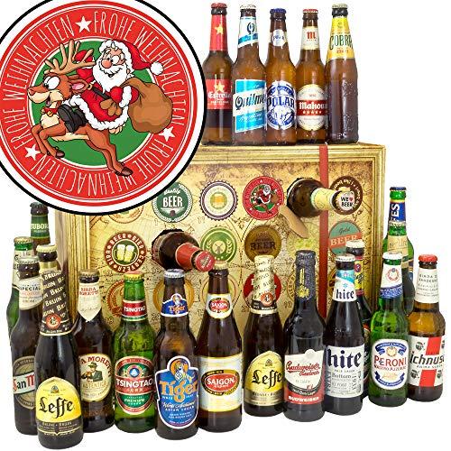 Santa Frohe Weihnachten + Adventskalender mit Bier + 24 Biere aus der Welt