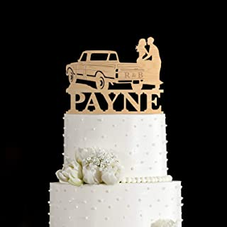 Pick up truck Topper Pick up truck wedding cake topper with bride and groom Pick up Truck Cake Topper and kissing couple Pick up truck