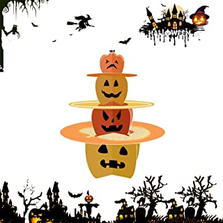 BOSHENG 3 Tier Halloween Cardboard Cupcake Stand Tower Round Cupcake Stand Dessert Cupcake Holder Halloween, Themed Party (Pumpkin Theme)