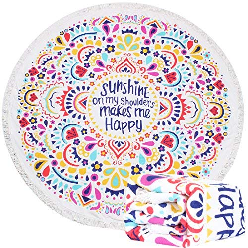 HAPEE Thick Round Beach Towel, Circle Beach Blanket - Soft, Quick Dry