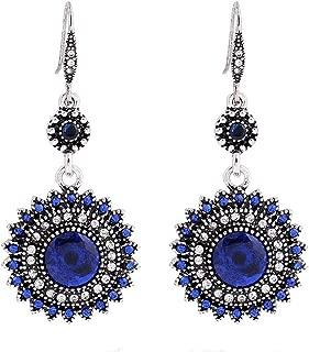 Women's Vintage Bohemian National Wind Earrings Royal blue/Turquoise blue/Red Sun Flower Earrings